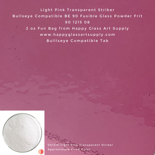001215-0008-F Light Pink Transparent Striker Powder BE90 BE 90 Bullseye Compatible Fusible Happy Glass Art Supply www.happyglassartsupply.com
