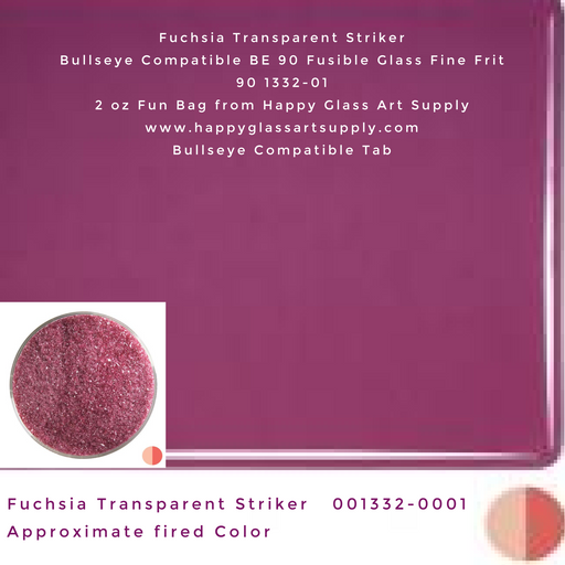 001332-0001-F Fuchsia Transparent Striker Fine Frit BE90 BE 90 Bullseye Compatible Fusible Happy Glass Art Supply www.happyglassartsupply.com
