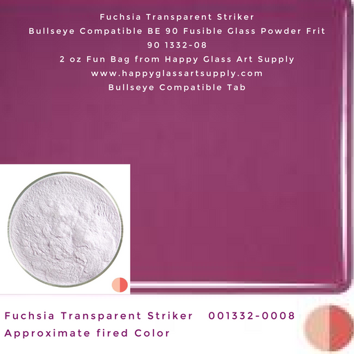 001332-0008-F Fuchsia Striker Transparent Powder Frit, 2oz fun bag Bullseye Compatible Fusible Happy Glass Art Supply www.happyglassartsupply.com