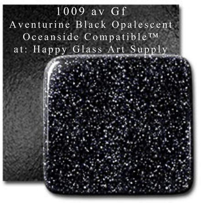 Aventurine Black Opal Opalescent Sheet Glass Oceanside Compatible™ System96 Coe96 Happy Glass Art Supply www.happyglassartsupply.com