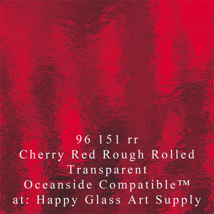 "Cherry Red Transparent Rough Rolled Compatible™ Sheet Glass 11"" SQ"