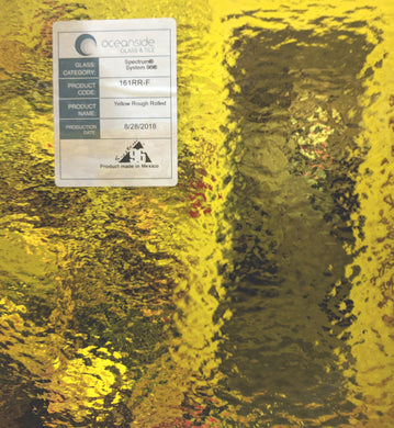 Yellow Transparent Rough Rolled- Oceanside - 96 COE 12 x 12