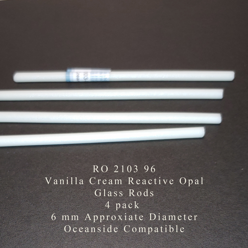 Vanilla Cream Reactive Opal RO-2103-96 Glass Rods Coe96 Oceanside Compatible™ System 96® Glass Fusion Glass Fusing Warm Glass Opalized Opalescent Glass Rods for Beadwork Bead Making Mosaic dots Happy Glass Art Supply www.happyglassartsupply.com