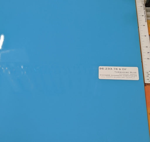 Turquoise Blue Opalescent System96 Oceanside Compatible™ Sheet Glass at www.happyglassartsupply.com
