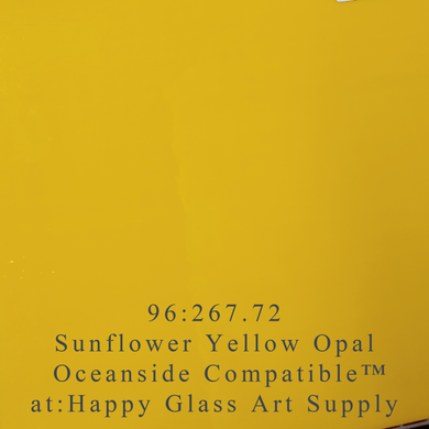 Sunflower Opalescent Smooth Oceanside Compatible™ System 96® Sheet Glass at www.happyglassartsupply.com Happy Glass Art Supply