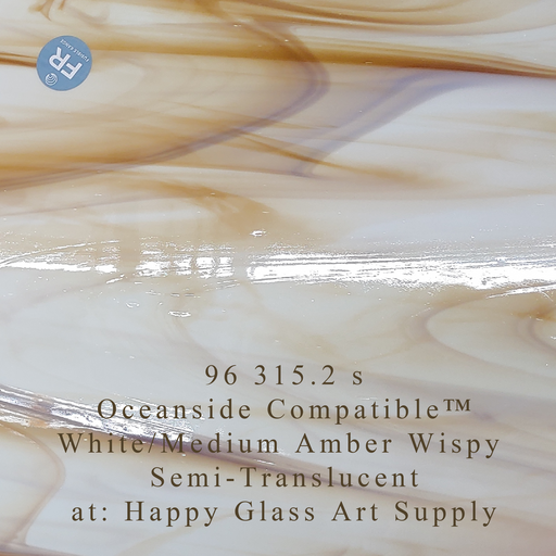96 315.2 s White/Medium Amber Wispy Semi-Translucent System 96® Oceanside Compatible™ Fusible Sheet Glass at www.happyglassartsupply.com Happy Glass Art Supply