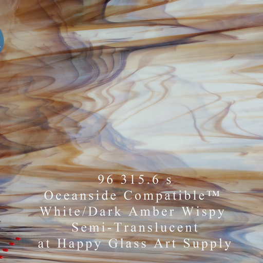 96 315.6 s White/Dark Amber Wispy Semi-Translucent System 96® Oceanside Compatible™ Fusible Sheet Glass at www.happyglassartsupply.com Happy Glass Art Supply