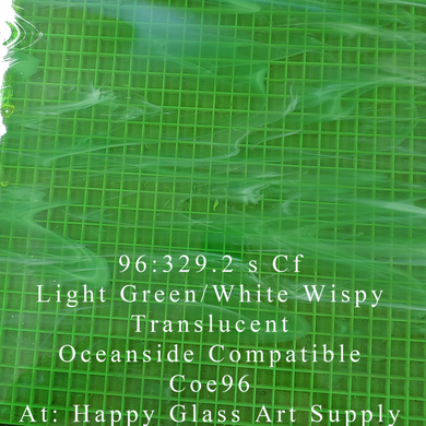 Light Green / White Wispy Translucent System 96® Oceanside Compatible™ Fusible Sheet Glass at www.happyglassartsupply.com Happy Glass Art Supply