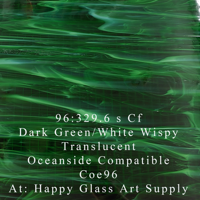 Dark Green / White Wispy Translucent Compatible™ Sheet Glass