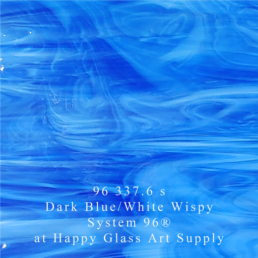 96 337.6 s Dark Blue/White Wispy Translucent System 96® Oceanside Compatible™ Fusible Sheet Glass Happy Glass Art Supply www.happyglassartsupply.com