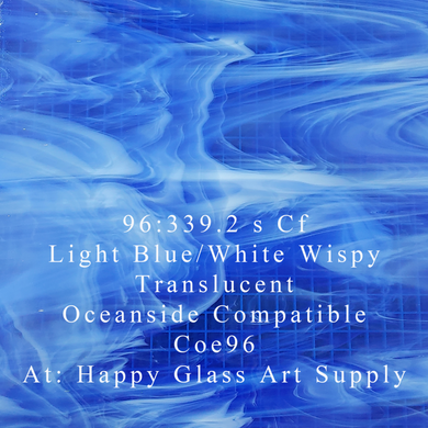 Light Blue / White Wispy Translucent System 96® Oceanside Compatible™ Fusible Sheet Glass at www.happyglassartsupply.com Happy Glass Art Supply