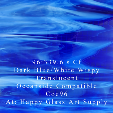 Dark Blue / White Wispy Translucent System 96® Oceanside Compatible™ Fusible Sheet Glass at www.happyglassartsupply.com Happy Glass Art Supply