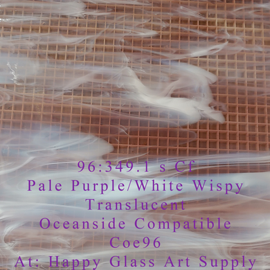 Pale Purple / White Wispy Translucent System 96® Oceanside Compatible™ Fusible Sheet Glass at www.happyglassartsupply.com Happy Glass Art Supply