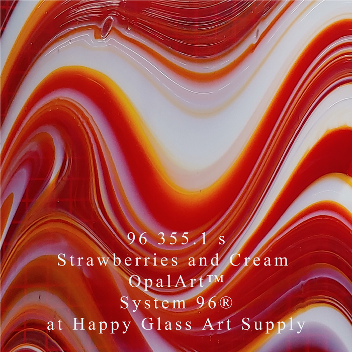 96 355.1 s Strawberries and Cream Peppermint Swirl OpalArt™ Red Transparent/Crystal Opalescent Smooth System 96® OceanSide Compatible™ Sheet Glass Happy Glass Art Supply www.happyglassartsupply.com