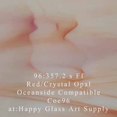 Red White Crystal Opal Coe 96 OceanSide Compatible™ Sheet Glass at www.happyglassartsupply.com Happy Glass Art Supply