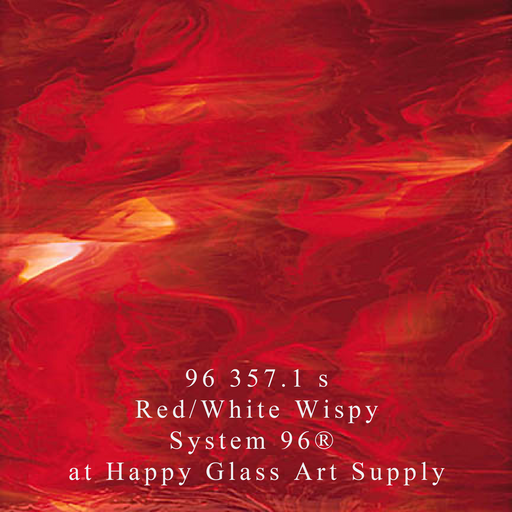 96 357.1 s Red/White Wispy System 96® Oceanside Compatible™ Fusible Sheet Glass Happy Glass Art Supply www.happyglassartsupply.com