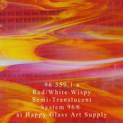 96 359.1 s Red/White Wispy System 96® Oceanside Compatible™ Fusible Sheet Glass Happy Glass Art Supply www.happyglassartsupply.com