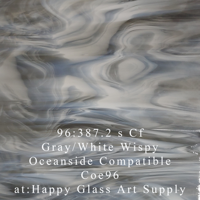 Gray/White Wispy Coe 96 OceanSide Compatible™ System 96® Sheet Glass at www.happyglassartsupply.com Happy Glass Art Supply