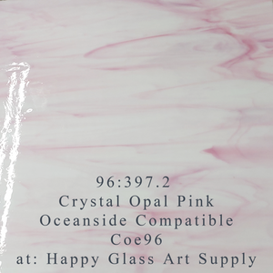 Crystal Opal Pink Wispy Compatible™ Sheet Glass