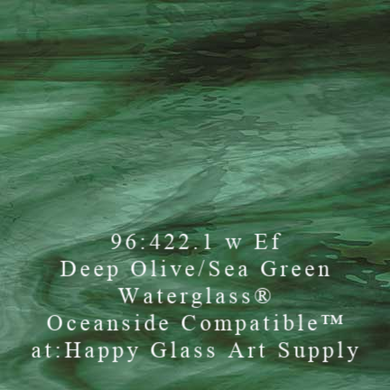 Deep Olive / Sea Green Waterglass® by Oceanside Fusible Coe 96 Oceanside Compatible at www.happyglassartsupply.com happy glass art supply