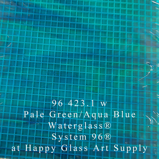 96 423.1 w Pale Green / Aqua Blue Waterglass® Translucent Stained Glass by Spectrum Non-Fusible Art Glass at www.happyglassartsupply.com Happy Glass Art Supply