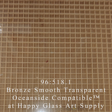 Bronze Transparent Smooth Oceanside Compatible™ System 96® Sheet Glass at www.happyglassartsupply.com Happy Glass Art Supply