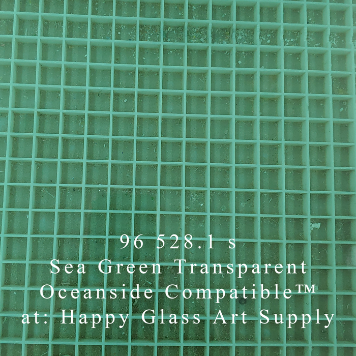 Sea Green Transparent System96 Oceanside Compatible™ Coe96 Fusible Glass Powder Frit Happy Glass Art Supply www.happyglassartsupply.com