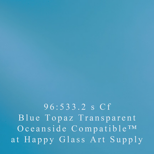Sky Blue Transparent System96 Oceanside Compatible™ Sheet Glass at www.happyglassartsupply.com Happy Glass Art Supply