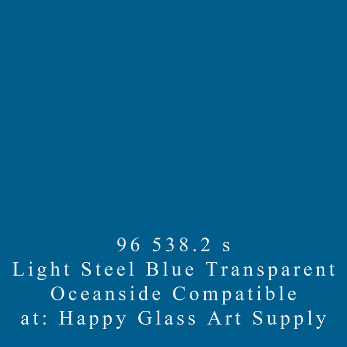 Light Steel Blue 538.2 Smooth Transparent System96 Oceanside Compatible™ Sheet Glass Fusion Fusing Happy Glass Art Supply www.happyglassartsupply.com