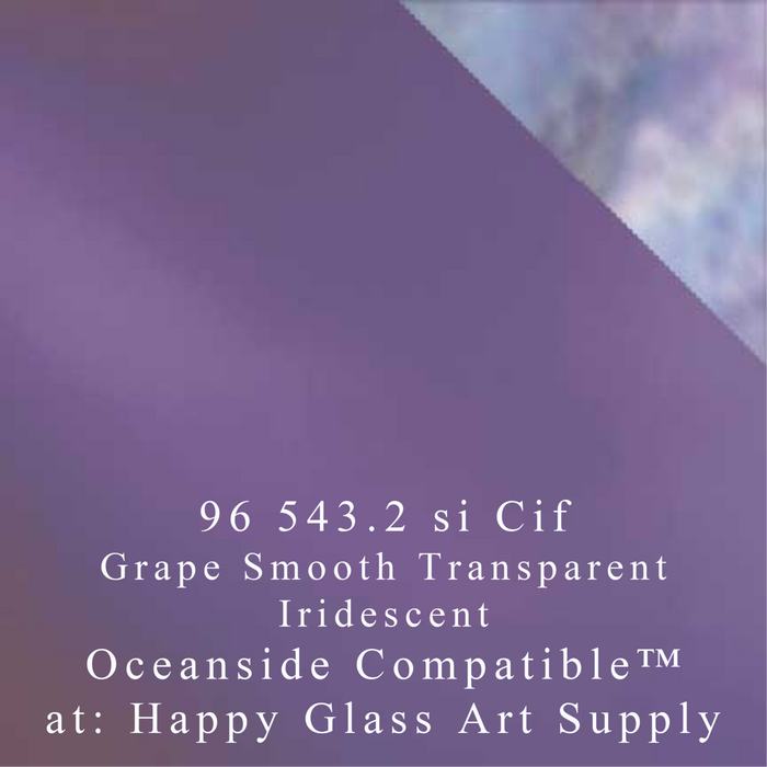 Grape Iridescent Smooth Transparent System96 Oceanside Compatible™ Coe96 at www.happyglassartsupply.com Happy Glass Art Supply