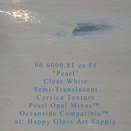 """Pearl"" Clear/White Semi Translucent Compatible™ Sheet Glass at www.happyglassartsupply.com Happy Glass Art Supply"