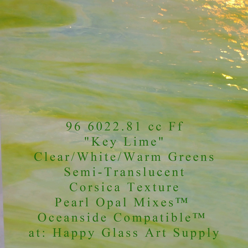 """Key Lime"" Clear/White/Warm Greens Semi Translucent Compatible™ Sheet Glass at  www.happyglassartsupply.com Happy Glass Art Supply"