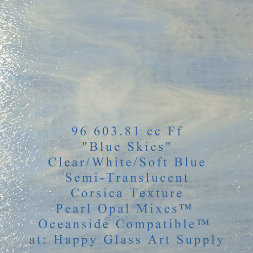 """Blue Skies"" Clear/White/Soft Blue Semi Translucent Compatible™ Sheet Glass at www.happyglassartsupply.com Happy Glass Art Supply"