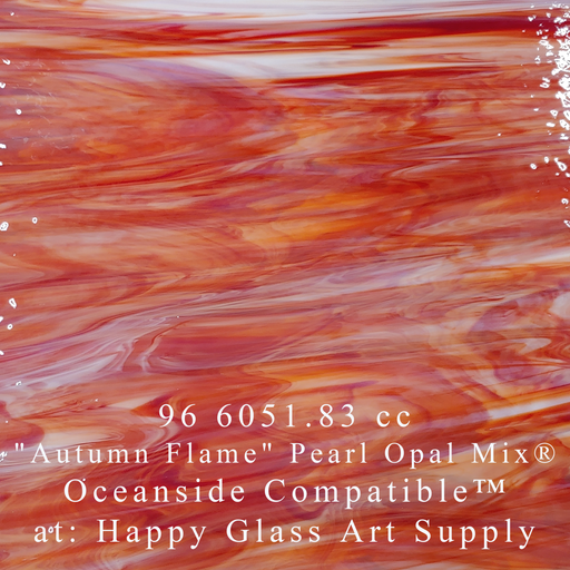 """Autumn Flame"" Clear/White/Red Semi-Translucent Compatible™ at Happy Glass Art Supply www.happyglassartsupply.com"