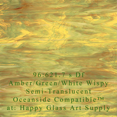 Amber/Green/White Wispy Semi-Translucent System96 Oceanside Compatible™ Sheet Glass at www.happyglassartsupply.com Happy Glass Art Supply