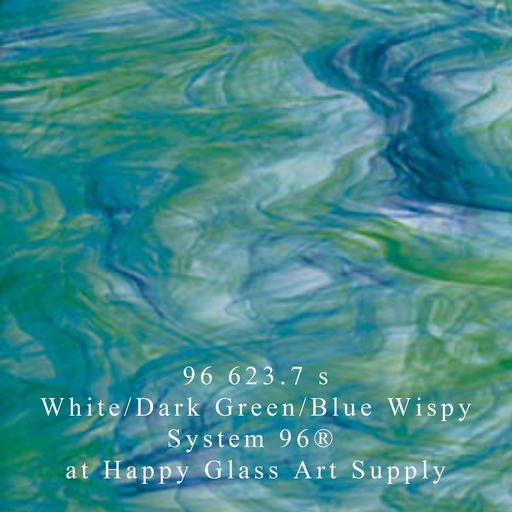 96 623.7 s White/Dark Green/Blue Wispy Smooth Semi Translucent System96 Oceanside Compatible™ Sheet Glass at www.happyglassartsupply.com Happy Glass Art Supply