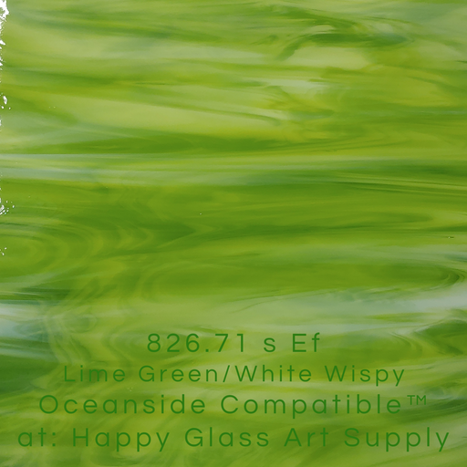 826.71 s Ef Lime Green/White Wispy Oceanside Compatible™ at: Happy Glass Art Supply