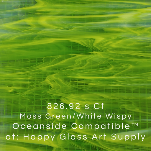 826.92 s Cf Moss Green/White Wispy Oceanside Compatible™ at: Happy Glass Art Supply fusing fusible www.happyglassartsupply.com