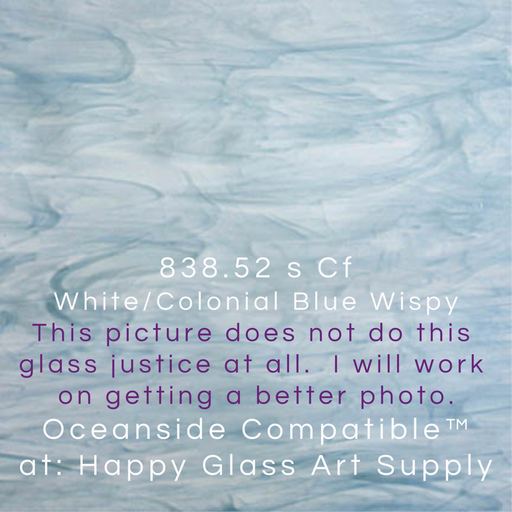 White / Colonial Blue Wispy Semi-Translucent Smooth System 96® Oceanside Compatible™ Sheet Glass at www.happyglassartsupply.com Happy Glass Art Supply