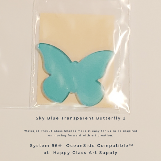 96-505-Bt Butterfly #1 Sky Blue Transparent PreCut System 96® Oceanside Compatible™ Waterjet Cut Fusible Glass Shape Happy Glass Art Supply www.happyglassartsupply.com