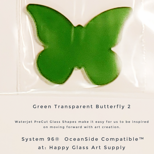96-505-G Butterfly #1 Moss Green Transparent PreCut System 96® Oceanside Compatible™ Waterjet Cut Fusible Glass Shape Happy Glass Art Supply www.happyglassartsupply.com