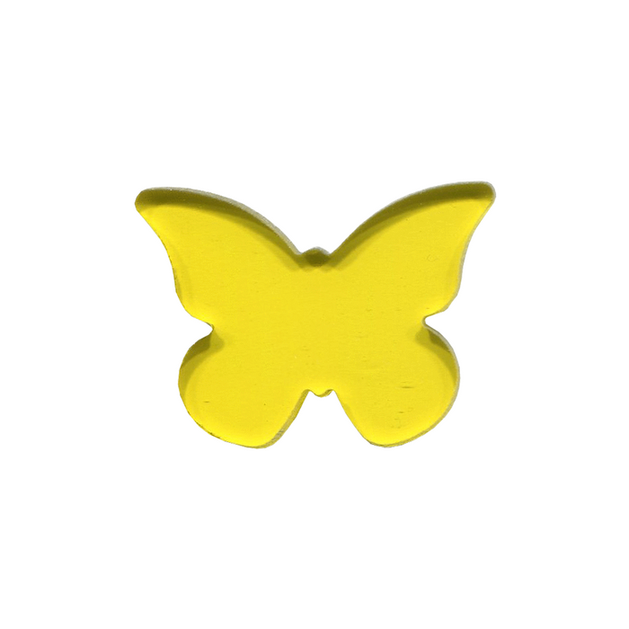 Butterfly #1 Yellow Transparent PreCut System 96® Oceanside Compatible™ Waterjet Cut Fusible Glass Shape Happy Glass Art Supply www.happyglassartsupply.com