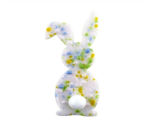 Bunny with Pre-Fused Frits and Round Tail PreCut System 96® System 96® Oceanside Compatible™ Waterjet Cut Fusible Glass Shape Happy Glass Art Supply www.happyglassartsupply.com