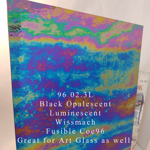 Black Opalescent Luminescent 3mm Wissmach Coe96 Fusible Sheet Glass at www.happyglassartsupply.com Happy Glass Art Supply