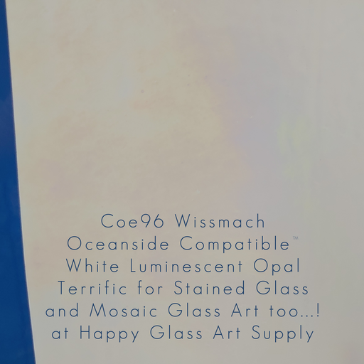 White Opalescent Luminescent iridescent 3mm Wissmach Coe96 Fusible Sheet Glass at Happy Glass Art Supply www.happyglassartsupply.com