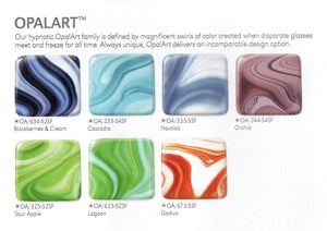 Blackberry Cream OpalArt™ Crystal Opal / Deep Aqua / Concord Smooth Coe 96 OceanSide Compatible™ Sheet Glass at www.happyglassartsupply.com