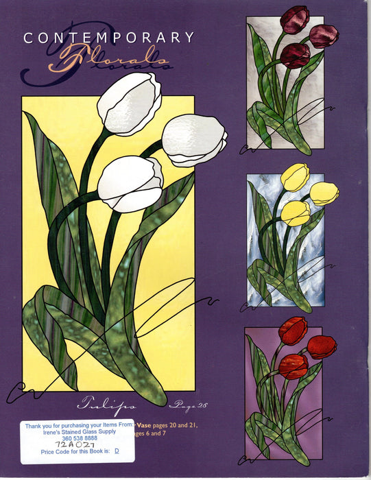 Contemporary Florals Stained Glass Art Pattern Book by Diane Roberts Happy Glass Art Supply www.happyglassartsupply.com