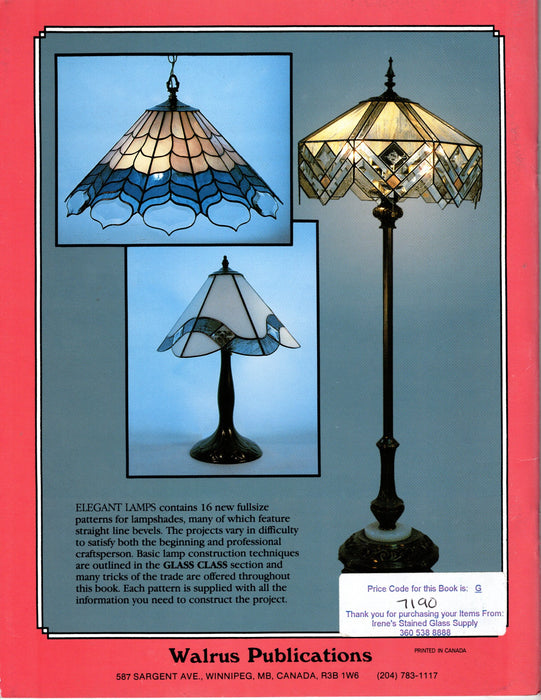 Elegant Lamps Stained Glass Pattern Book by Brian McMillan and Lucinda Doran Happy Glass Art Supply www.happyglassartsupply.com