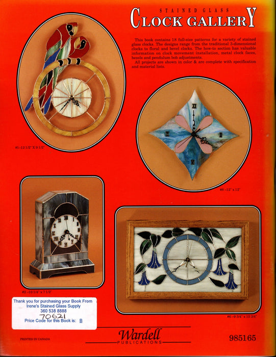 Stained Glass Clock Gallery Pattern Book Instructional