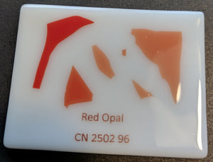 Red opal coe 96 confetti fusible glass oceanside compatible Coe96 at www.happyglassartsupply.com